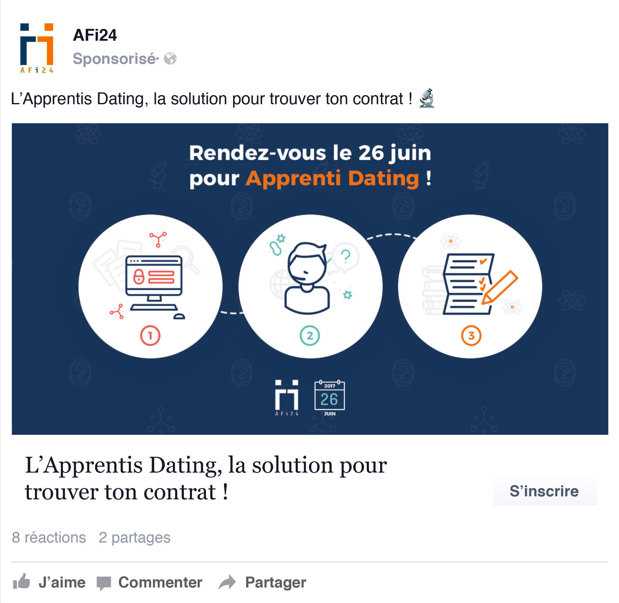 Visuel single Facebook ads - recrutement d'étudiants