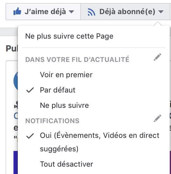 Visuel activer voir en premier sur Facebook